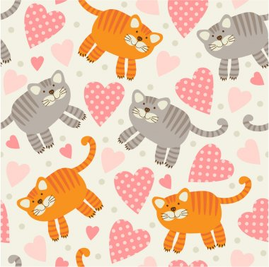 Pattern with cats and hearts.