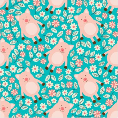 Seamless pattern with piglets.