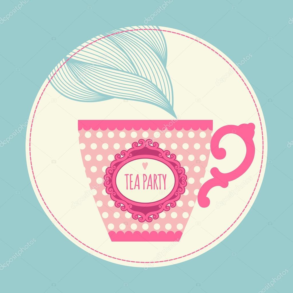 Invitación con una taza de té — Archivo Imágenes Vectoriales ...