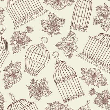 Pattern with flowers and bird cages