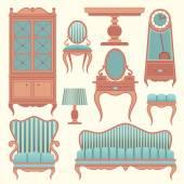 Sada s starodávný nábytek.
