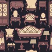 Bezešvé vzor s nábytkem