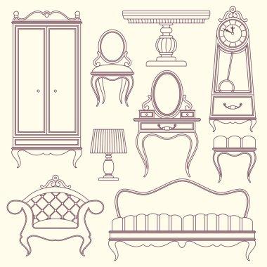 Set with vintage furniture.