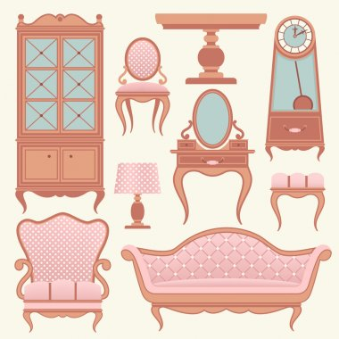 Set with vintage furniture.
