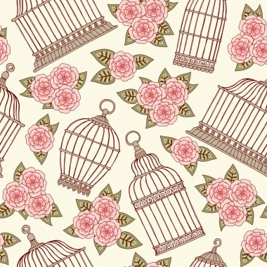 Seamless pattern with flowers and bird cages