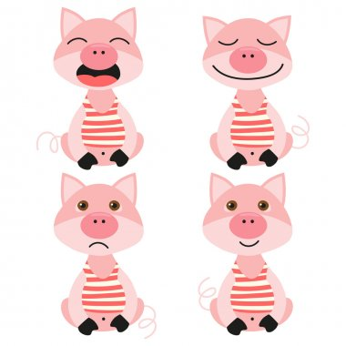 Set of illustrations with piglets. Emotions