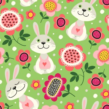 Seamless pattern with rabbits and flowers