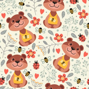 pattern with teddy bears, flowers and bees