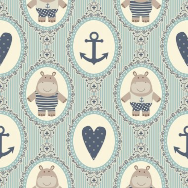 Seamless pattern with hearts and hippos