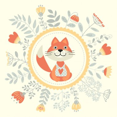 invitation card with flowers and fox