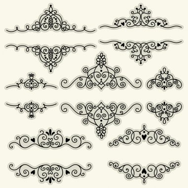 Set of vintage frames and elements for invitation or greeting card. Template for text or photo. stock vector