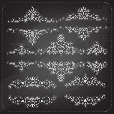 Set of vintage frames and elements for invitation or greeting card. Template for text. stock vector