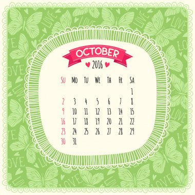 Calendar 2016 in green color.