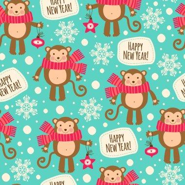 Seamless pattern with monkeys.