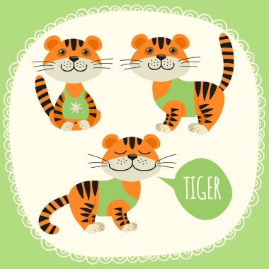 Set of illustrations with tigers.