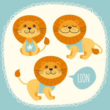 Set of illustrations with lions