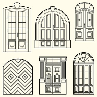 Set of illustrations with  vintage doors