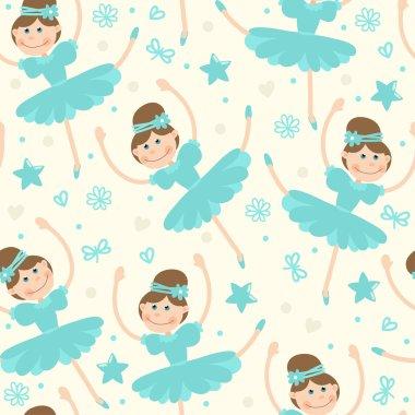 Seamless pattern with little ballerina