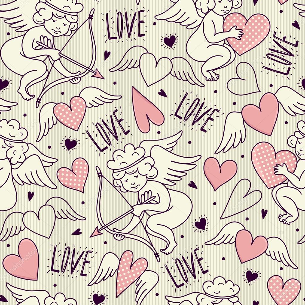 Seamless pattern with angels. Valentine's Day. Vector illustration stock vector