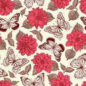 vzorek s motýly a Jiřiny