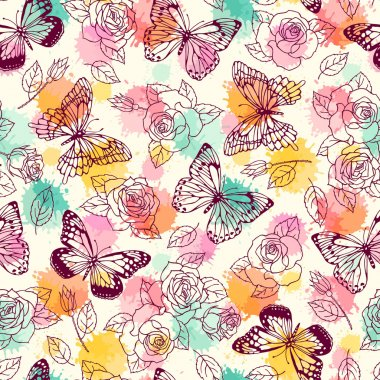pattern with butterflies and roses