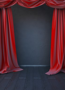 3d render. red curtain on the stage. The backdrop to the side scene stock vector