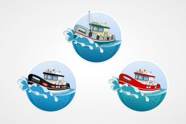 set of vector elements. Moving speed fishing, rescue and police boat. Deep sea with wave. Round computer icons for applications or games. Logo template. Handdrawn Illustration.