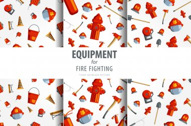 Color vector seamless pattern firefighter equipment. Flat icon background icon