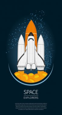 Modern design vector illustration with Space Shuttle Launch. universe exploration and new technology. Template for poster.