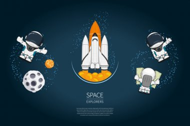 Set of Modern design vector illustration withSpace Shuttle Launch, astronaut, planet. universe exploration and new technology. Template for poster.