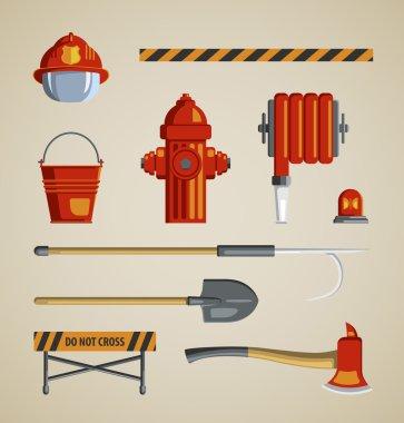 Set flat colored vector icons on light sandy background. Instrument, equipment or volunteer fireman. Fridge magnet, T-shirt printing, set for collage, illustration for children's books