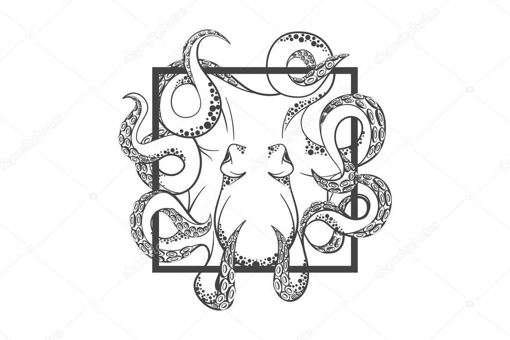 Octopus emblem Template — Stock Vector © dizinf #75667705