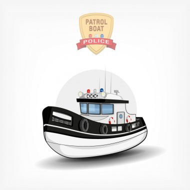 Vector color handdrawn illustration of a isolated police boat.