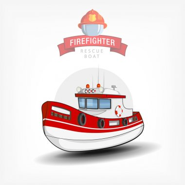Vector color handdrawn illustration of a isolated firefighter bo