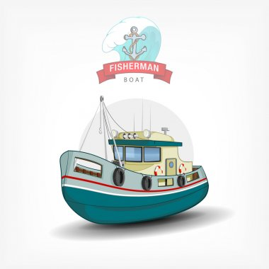 Vector color handdrawn illustration of a isolated fishing boat.