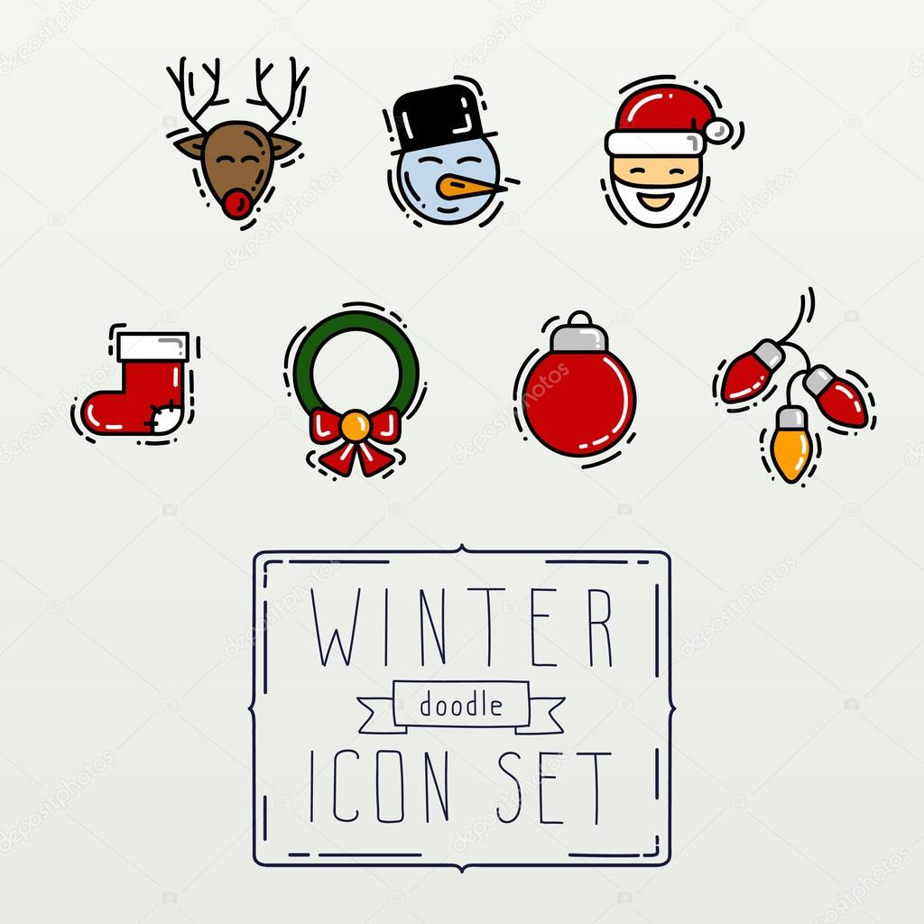 set of colour thin line hand drawing icons and element new year