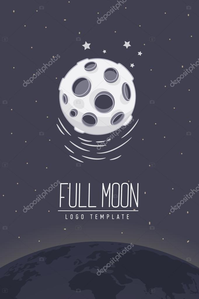 full moon colored vector illustration or symbol with lettering template for logotype flyer