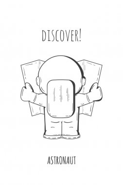 Hand drawn cartoon astronaut in spacesuit back view. Line art cosmic vector illustration astronaut look at the map, looking for something. Concept space travel, spaceflight, navigation on terrain.