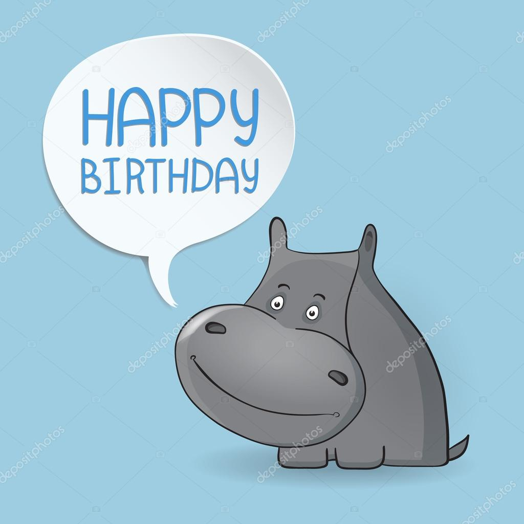Cute happy birthday card with hippopotamus Babies background – Cool Happy Birthday Cards