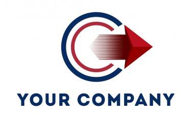 Abstract vector logo template round logo with arrow
