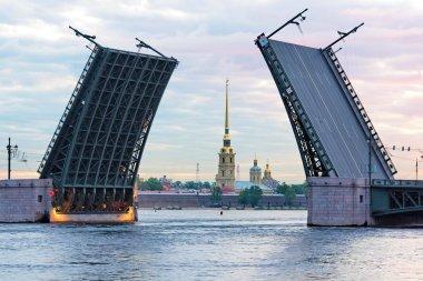 Open Palace bridge, Neva river, Saint-Petersburg, Russia