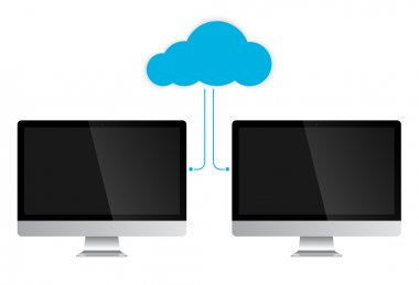 Cloud Service Concept two PC computers. Vector