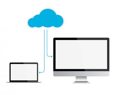Cloud Service Concept Isolated on white laptop and computer. Vector