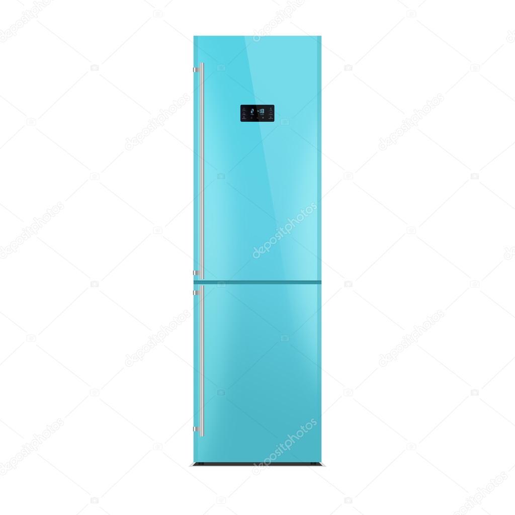 Glänzend Blauen Kühlschrank Isoliert Auf Weiss Hochglanz Finish