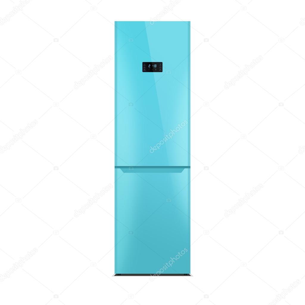 Glanzend Blauen Kuhlschrank Isoliert Auf Weiss Hochglanz Finish