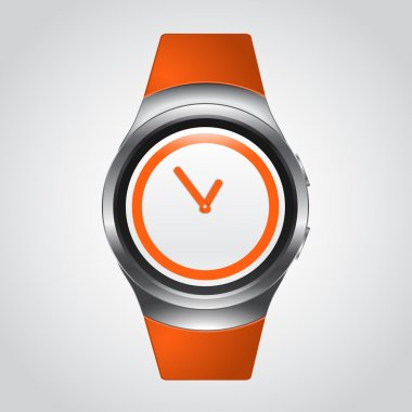 Modern Smart Watch Mockup with orange silicon strap
