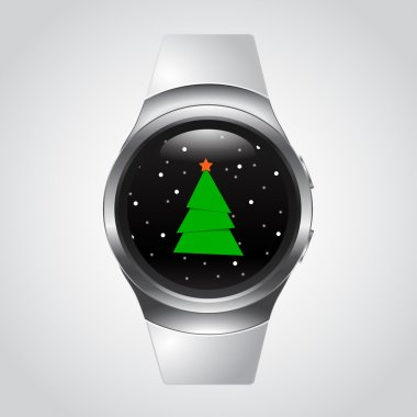 Smart Watch with Christmas Tree and snow, glass ball, snowglobe