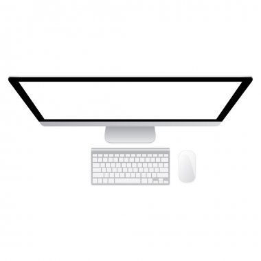 Desktop Computer Mockup and keyboard with mouse on white