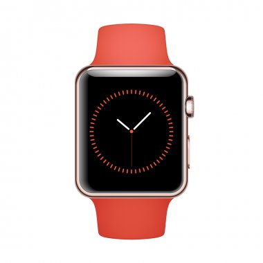 Smart Watch Mockup with orange strap and Rose Gold steel case