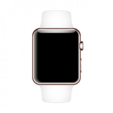Smart Watch Mock-up with white strap and Rose Gold case